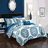 Colorful King Size Comforter Sets Chic Home Barcelona ((8 Piece) Reversible Comforter Set, King, Blue,