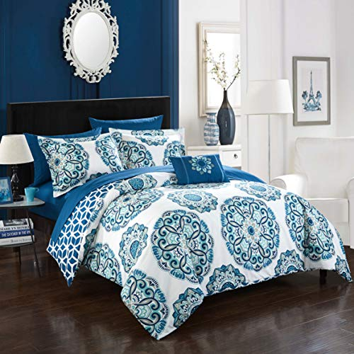 Chic Home Barcelona 8 Piece Reversible Comforter Set, Full/Queen, Blue, 8