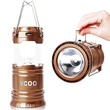Camping Lantern, VCOO Solar Rechargeable LED Camp Light & Hand Held Flashlight, Collapsible Outdoor Lamp with Built in Rechargeable Battery (Brown)