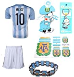 iSport Gifts® Argentina Home Messi #10 Kids Soccer Jersey and Soccer Shorts 6 IN 1 SOCCER FAN GIFT KIT Youth Sizes YS / YM / YL
