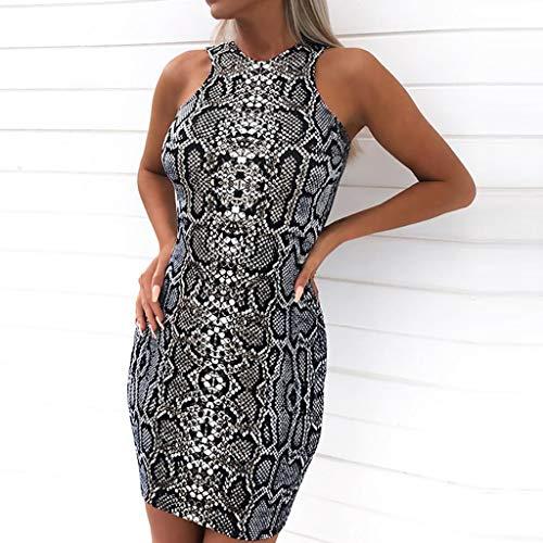 35d37da9135 ... YKARITIANNA Women's Ladies Sexy Serpentine Print Sleeveless Mini Dress  Summer Dress ...