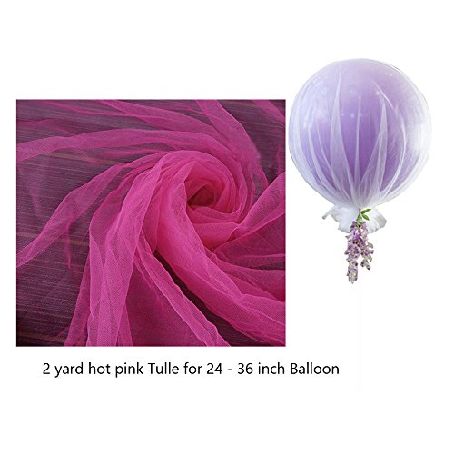Hot Pink Tulle Balloon Nets For 24-36 inch Balloons Centerpieces Birthday or Wedding Decoration - 3 Pcs/Pack by Jioong