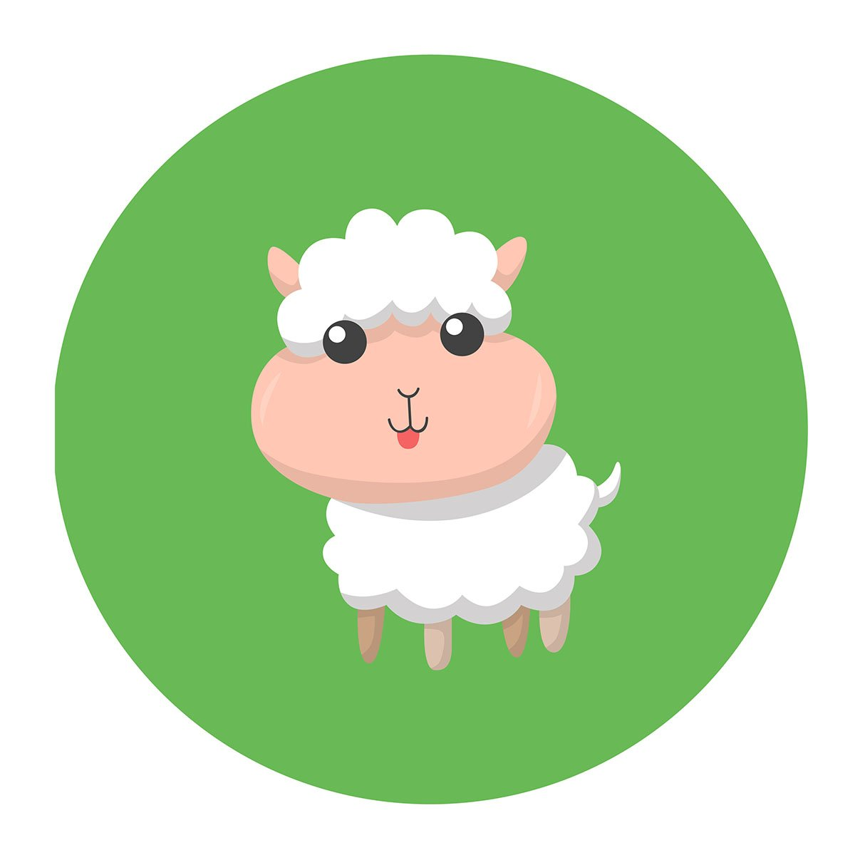 MAGJUCHE Green Little Sheep Stickers, Farm Animal Lamb Unisex Baby Shower or Birthday Sticker Labels, 2 Inch, 40-Pack