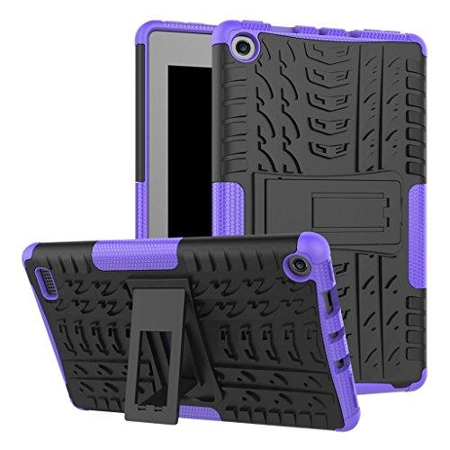 MagiDeal Cubierta de Caja Protección de Caída de Dos Capas con Pata de Cabra para Fire7 2017 - Púrpura Púrpura