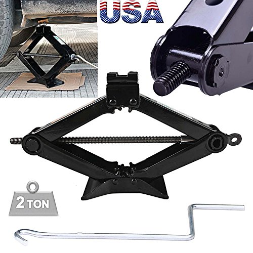 Steel Scissor Jack Black Rustproof 2 Ton Capacity/385mm Max.Height with Chromed Speed Crank Handle Tire Changing Tools for Car Van Truck Vehicles, 1PCs US Ship by DICN