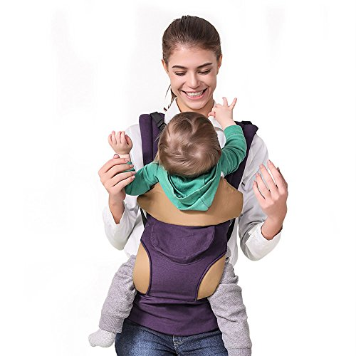 Baby Carrier with Pocket, Ergonomic Convertible Front and Backpack Holder for Infant to Toddlers - 7-44lbs - Pass CPSC ASTM, Deep Purpple