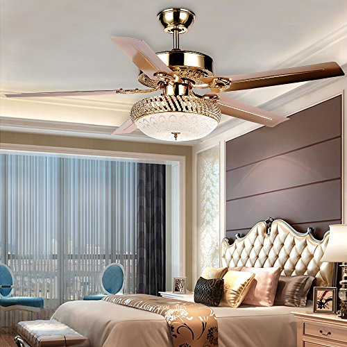 Tropicalfan Metal Silent Ceiling Fan With Remote 1 Glass Cover Decorative Home Living Room Fans Chandelier 5 Reversible Blade Rose Gold 52 inch (LED Chip)