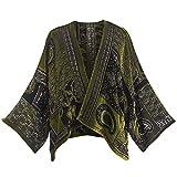 CATALOG CLASSICS Women's Peridot Paisley Velvet Cropped Jacket - Open Front Paisley Print