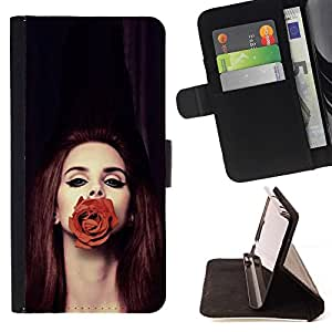 For Samsung Galaxy S6 Active G890A Case , Rose Moda pelirroja Belleza Profunda- la tarjeta de Crédito Slots PU Funda de cuero Monedero caso cubierta de piel