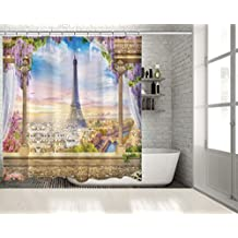"Positive Home Panoramic Sunrise View of Eiffel Tower from Terrace Colorful Sky Lilac and Pink Flower Europe Paris Historic Landmark Shower Curtain 70""wide X 75""long"