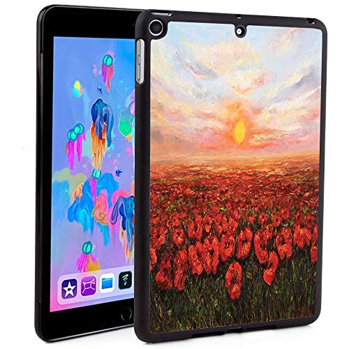 iPad Mini 5 Case Screen Protector,Wild Opium Poppy with Petals Field in Front of Sunset Artistic Picture PrintAuto Sleep/Wake Feature for iPad Mini 5th Generation 2019(Custom Pattern iPad case) ()