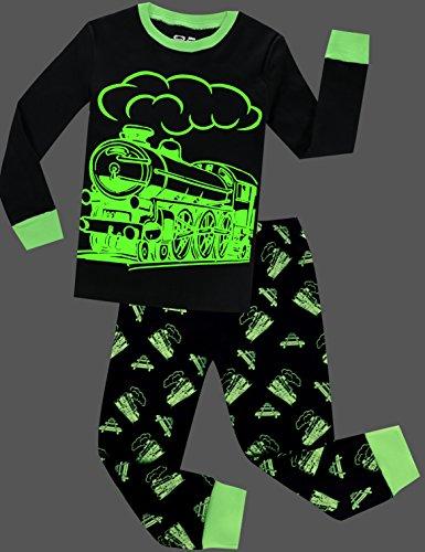 Boys Train Pajamas Christmas Pjs for Boys Sleepwear Children Clothes Glow in The Dark Size 3 by BebeBear (Image #2)