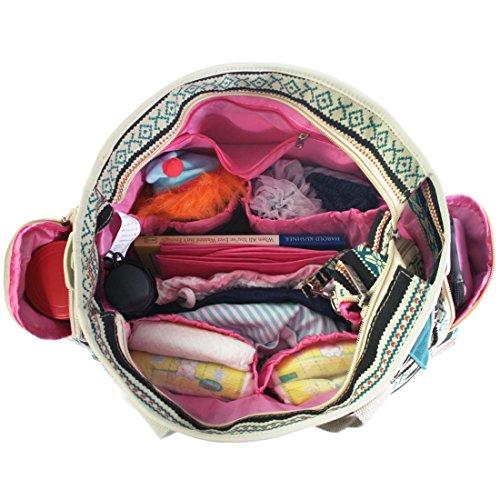 Bebé de KF diseño de flores de bolsa de pañales del filtro de la relación calidad precio conjunto de cinta y, Crossbody de la correa de la, de ganchos para rejilla para carrito de bebé, terreno de jue negro