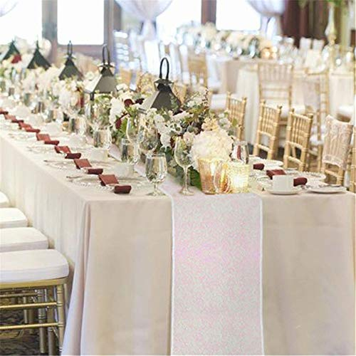 B-COOL Sequin Table Runner Rainbow Sparkle Table Linens,White Iridescent 12x72inches ()