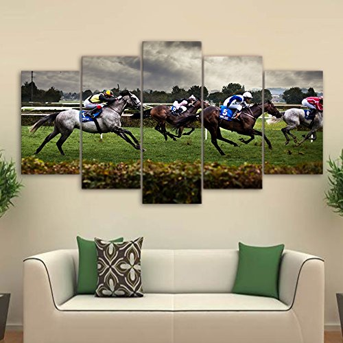 Modern Canvas Wall Art Poster Frame Sports Room Home Decor HD Printed 5 Piece Modular Pictures Fast Horse Racing Painting ,30x50 30x70 30x80cm,Frame -