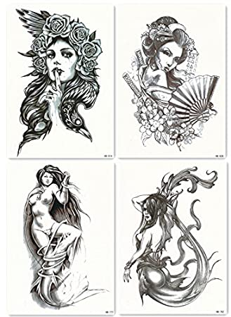 73c23900b Amazon.com : DaLin 4 Sheets Temporary Tattoos for Men Women, Sexy Mermaid  Sea-maid, Japanese Geisha, Hawk Lady : Beauty