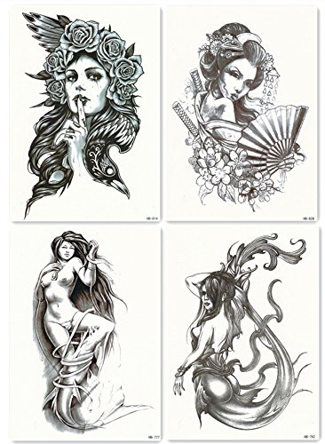 DaLin 4 Sheets Temporary Tattoos for Men Women, Sexy Mermaid Sea-maid, Japanese Geisha, Hawk Lady