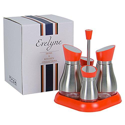 eel Oil Vinegar Dispensers Salt Pepper Shakers Cruet Set with Tray (Orange) ()