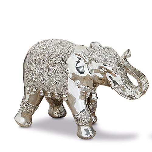 Whole House Worlds The Good Luck and Happiness Festival Elephant, Indoor or Outdoor Garden Statue,Handmade, Silver Finish, Cast Poly-resin, Weather Resistant, 10 1/2 inches Long, By For Sale