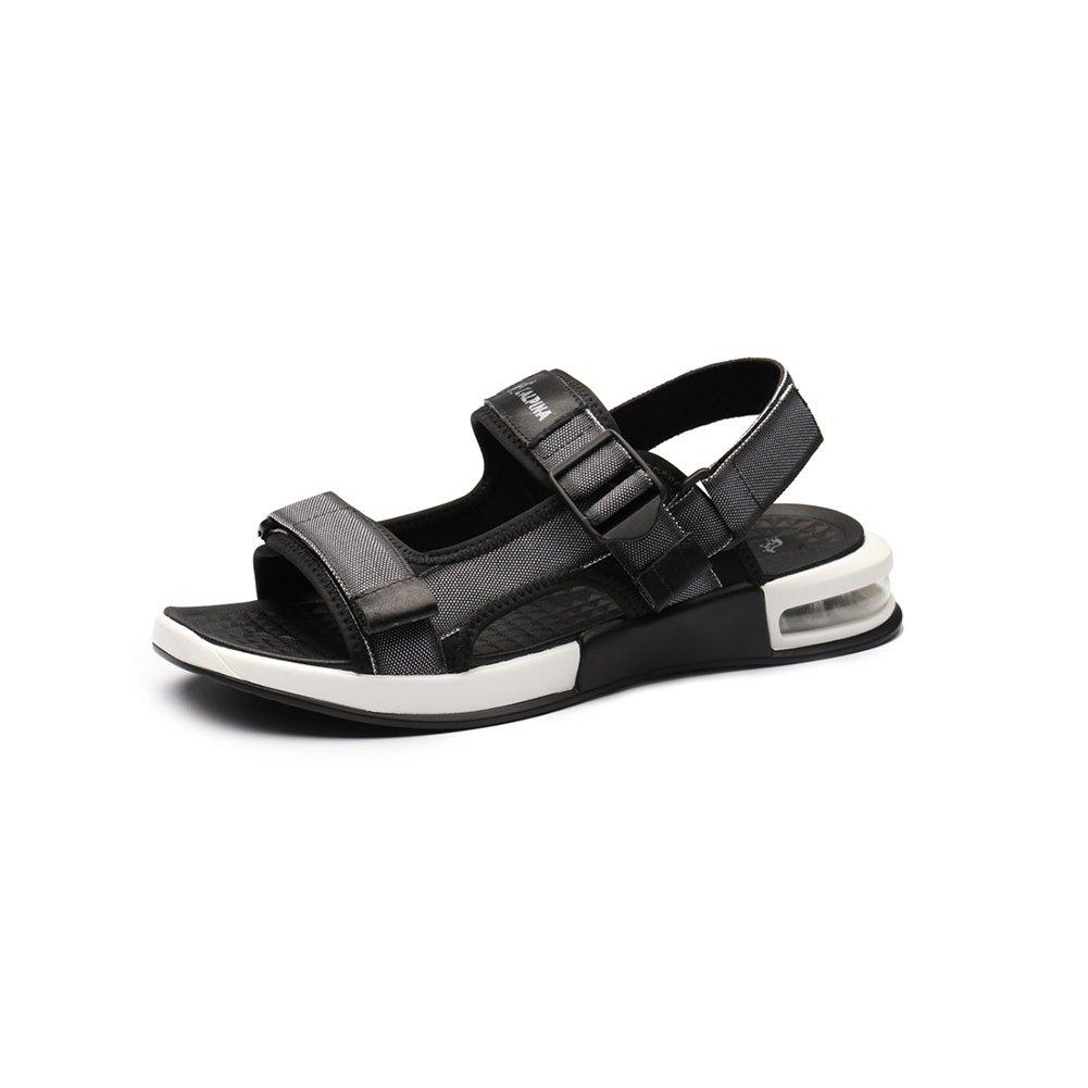 WYYY Calzado De Hombre Sandalias Temporada De Verano Doble Uso Fondo Suave Punta Abierta Velcro Sandalias Exterior Zapatos De Playa Zapatos Casuales Sandalias De Playa EU40/UK7|Gris
