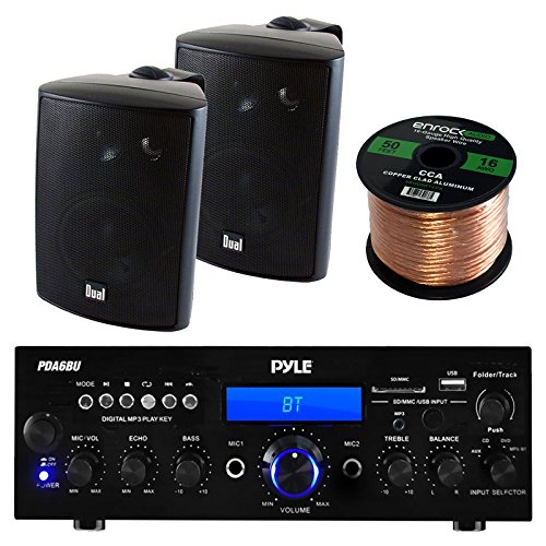 Pyle PDA6BU Amplifier Receiver Stereo, Bluetooth, FM Radio, USB Flash Reader, Aux input LCD Display, 200 Watt With Dual LU43PB Indoor/Outdoor Speakers Bundle With Enrock 50ft 16g Speaker Wire (Stereo Patio)