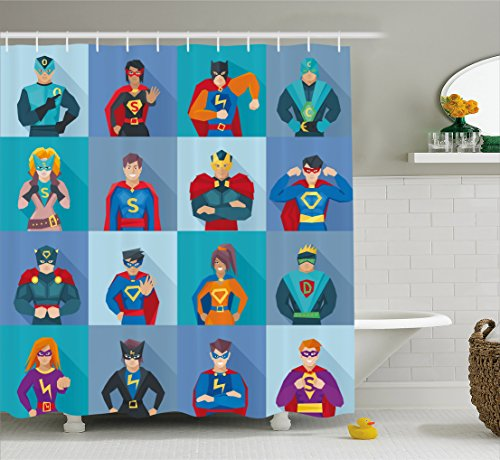 [Superhero Shower Curtain by Ambesonne, Characters with Supernatural Powers in Special Costumes Comic Strip Humor Print, Fabric Bathroom Decor Set with Hooks, 70 Inches, Multicolor] (College Humor Costumes)