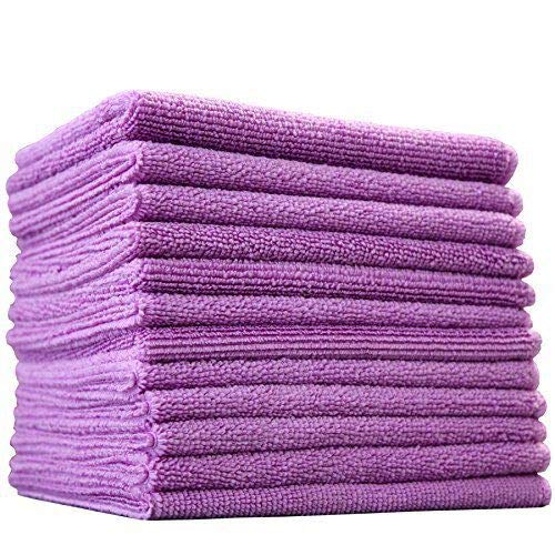 (12-Pack) 12 in. x 12 in. Commercial Grade All-Purpose Microfiber HIGHLY ABSORBENT, LINT-FREE, STREAK-FREE Cleaning Towels - THE RAG COMPANY (Lavender Purple)