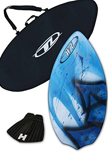 Skimboard Package for beginners - Blue - 38'' Fiberglass Wave Zone Diamond plus Board Bag and/or Traction Pad - For Riders up to 110 lbs (Board + Traction + Bag) by Wave Zone Skimboards