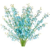 Artificial Blue Flowers Dancing Lady Butterfly Long Stem Fake Orchids 5 Pcs Silk Fake Flower Arrangements Faux Real…