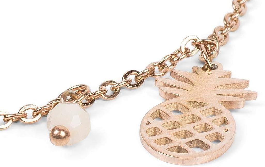 styleBREAKER Cha/îne de cheville pour femmes avec pendentif ananas et perles bijou 05080005 en maille for/çat fermoir /à mousqueton