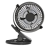 Mini Clip Desk Fan,Caveen 5'' Portable Personal 2-Mode Speed Clip On & Stand Desk Table Shelf Plastic Fan, USB Powered by Computer/Power Bank/USB Charger Power Adapter, 360 Adjustable Silent Cooling
