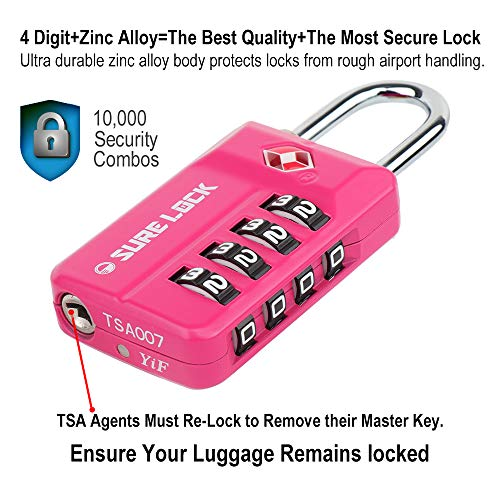 SURE LOCK TSA Compatible Travel Luggage Locks, Inspection Indicator, Easy  Read Dials- 1, 2 & 4 Pack (Pink 2 Pack)