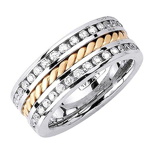 - 1.75ct TDW White Diamonds 18K Gold Braided Women's Wedding Band (G-H, SI1-SI2) (9.5mm) Size-8c4