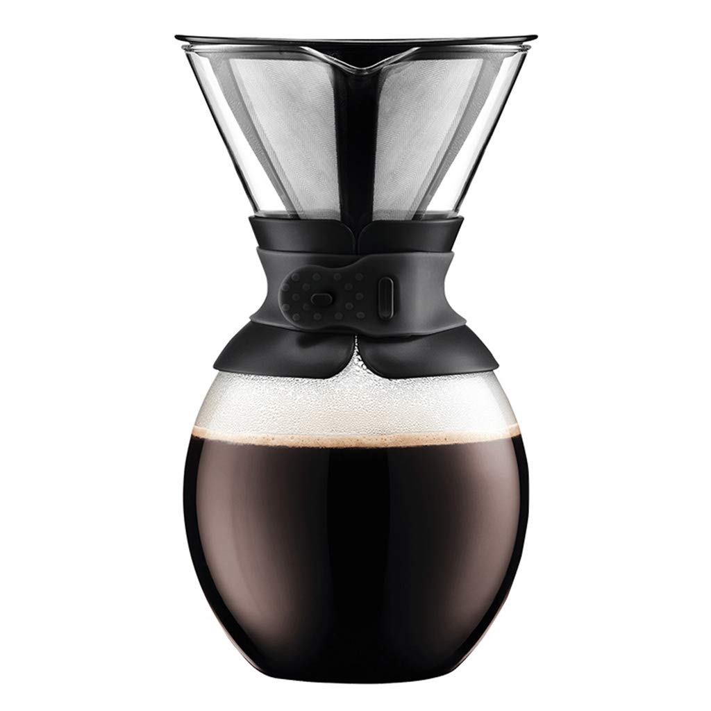 Drip Type Pouring Coffee Pot and Filter Borosilicate Glass-1.5l Black Permanent Stainless Steel Filter Without Paper Filter
