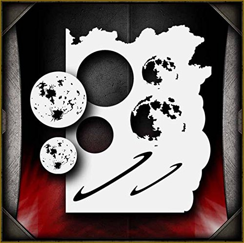 Moon/Planets AirSick Airbrush Stencil Art Design Template - Reusable Multi-Layer Painting Patterns for Cars, Motorcycle, Tatoos, Walls, Cakes, T-Shirts, Hair, Scrapbooks Etc ()