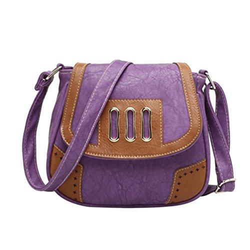 YouPue Damen Kleine Umhängetasche Schultasche Damenhandtaschen Schöne Taschen Pu-Leder Retro Tragetaschen Lila Sl4B0V