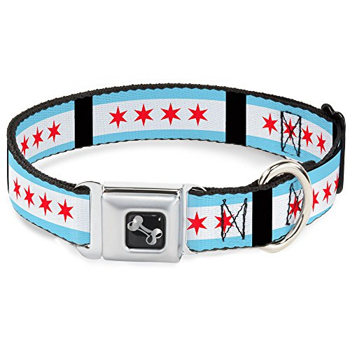 "Buckle-Down 9-15"" Chicago Flags/Black Dog Collar Bone, Small well-wreapped"