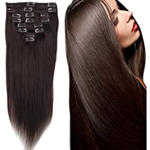 FIRSTLIKE Real Natural Remy Clip in Hair Extensions 16-22inch Grade 7A Hair Full Head 8 Pieces 18 Clips Long Smooth Soft Silky Straight(16 Inch 65g,#2 Dark Brown)