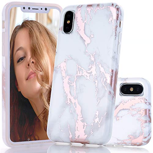 (BAISRKE Shiny Rose Gold Metallic White Marble Design Clear Bumper Glossy TPU Soft Rubber Silicone Cover Phone Case Compatible with iPhone X iPhone Xs 5.8 inch)
