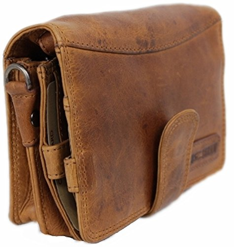 Travel Wallet For Men Women Organizer Genuine Leather Purse Wrist Bag Crossbody Handmade Vintage With Coin Phone Pocket cognac Cairo ()
