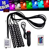 GTP LED 16 Color RGB Strip Light, 4pcs 36 LED Multi-color Car Truck Interior Atmosphere Under Dash Seat Floor Neon Lighting Kit with Multi-Mode Changing IR Wireless Remote Control, Car Charger, DC 12V