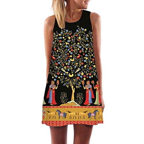 Cinnamou Vestido Para Mujer con Estampado,Vintage Boho Mujer Verano sin mangas Beach Printed Mini vestido corto B