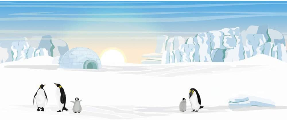 YongFoto 20x10ft Antarctic Penguin Backdrop Polar Snow World Photography Background Cartoon Landscape Children Baby Shower Birthday Party Banner Decor Kids Adult Portrait Studio Props Wallpaper