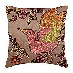 Pink Handmade Colorful Bird Cushion Cover