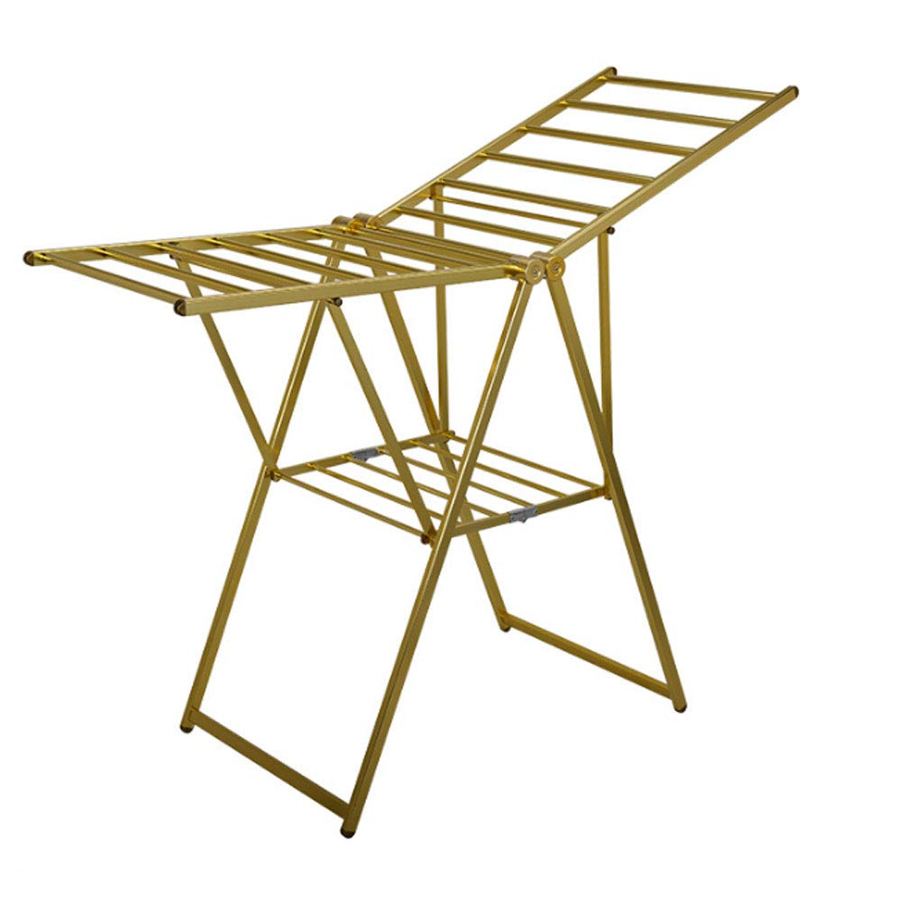 ZXW 乾燥ラック- 屋内屋外アルミ合金折り畳み式乾燥ラック、ベビーフリー設置乾燥ラック乾燥ラック (色 : ゴールド, サイズ さいず : 117.5x160cm) B07KPM22G4 ゴールド 117.5x160cm