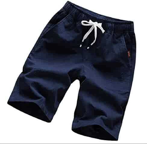 8ebcdcf37a25 CBTLVSN Men s Drawstring Solid Color Fitted Cotton Linen Linen Cotton Beach  Hot Pants with Pocket