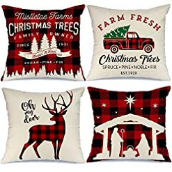 Christmas Farmhouse Home Decor AENEY Buffalo Plaid Christmas Pillow Covers 18×18 Set of 4 Christmas Pillows Xmas Winter Holiday Throw Pillows Deer… farmhouse christmas pillow covers