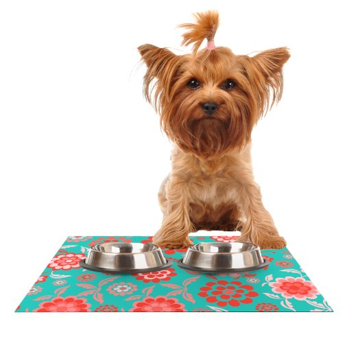 Kess InHouse Nicole Ketchum Cherry Floral Sea  Feeding Mat for Pet Bowl, 18 by 13-Inch