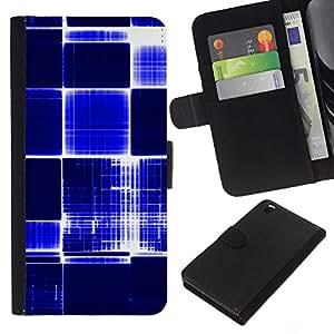 KLONGSHOP // Tirón de la caja Cartera de cuero con ranuras para tarjetas - Patrón a cuadros azul Blanco brillante Bling - HTC DESIRE 816 //