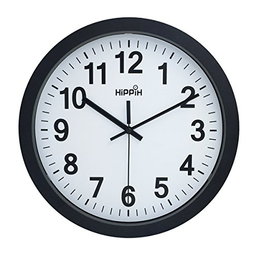 Large Indoor/Outdoor Hippih 12 Inch Non-Ticking & Silent Decorative, 2311A (Large Outdoor Clocks For Walls)